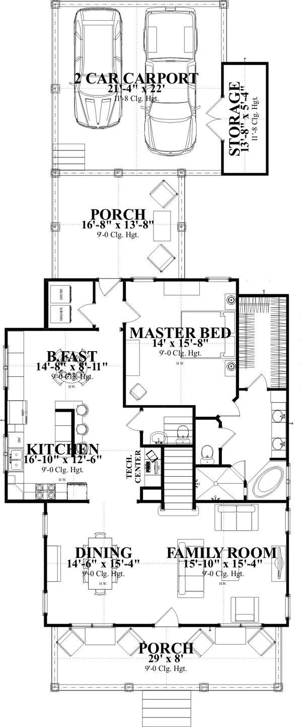 Farmhouse Floor Plan - Main Floor Plan Plan #63-376