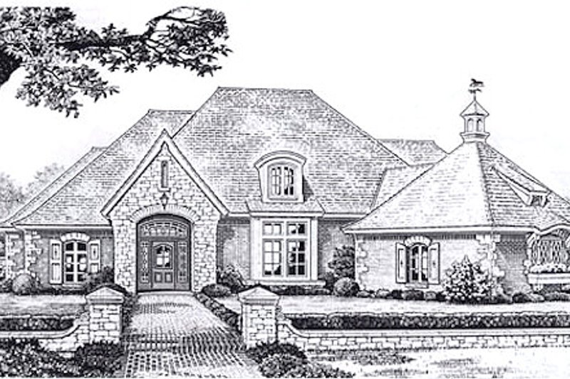 European Style House Plan - 4 Beds 3.5 Baths 3504 Sq/Ft Plan #310-943 Exterior - Front Elevation