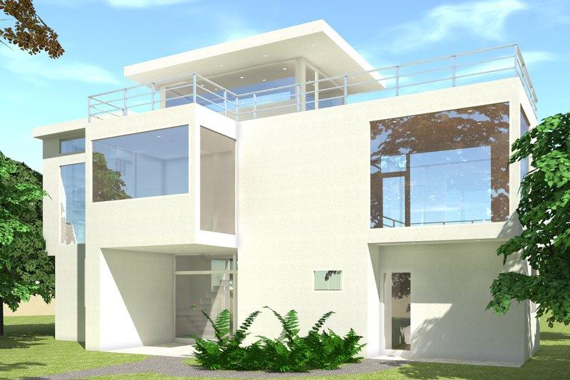 Modern Exterior - Front Elevation Plan #64-219 - Houseplans.com