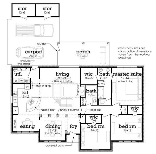 Ranch Floor Plan - Main Floor Plan Plan #45-580