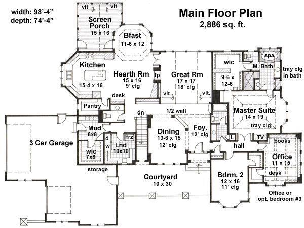 Country Floor Plan - Main Floor Plan Plan #51-548