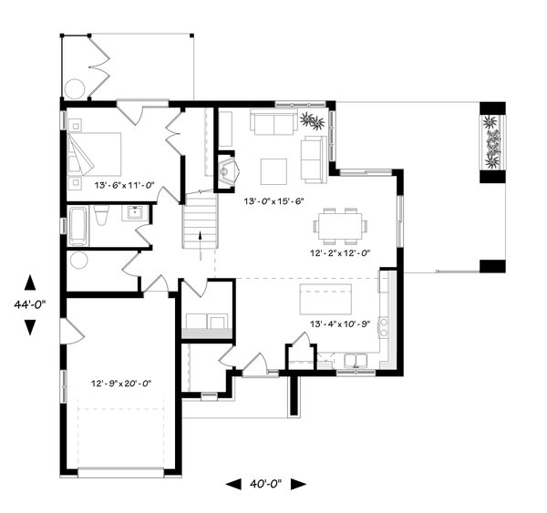 Modern Floor Plan - Main Floor Plan Plan #23-2308