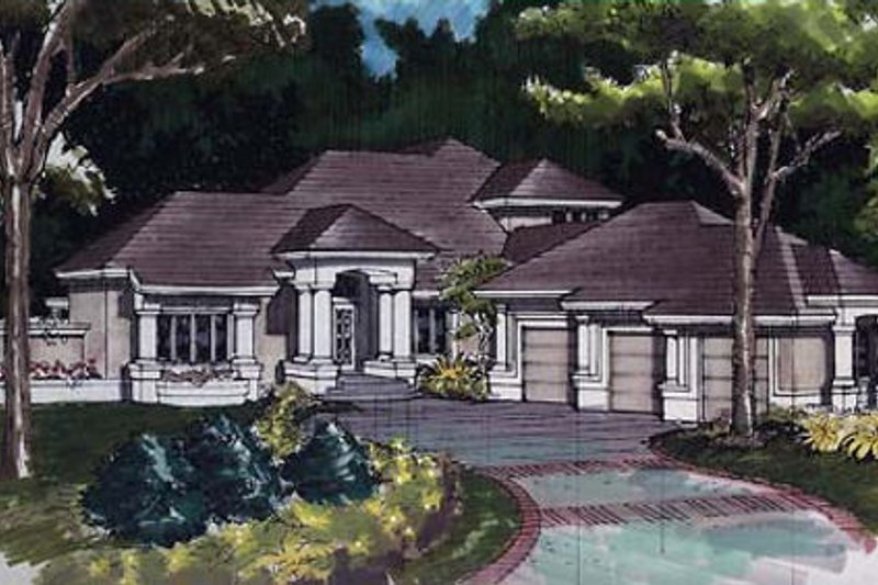Mediterranean Exterior - Front Elevation Plan #320-384