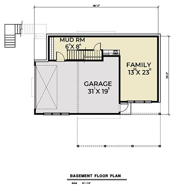 Contemporary Floor Plan - Lower Floor Plan Plan #1070-45
