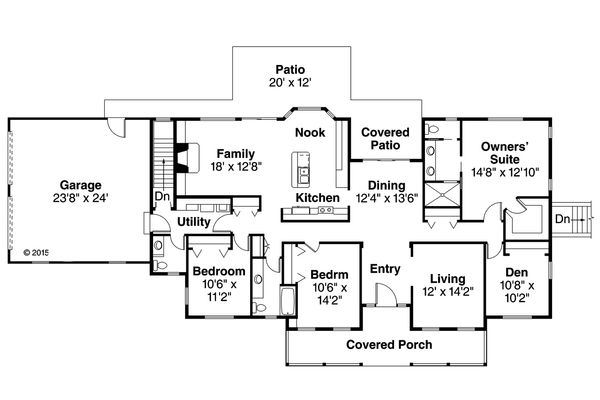 Country Floor Plan - Main Floor Plan Plan #124-1023