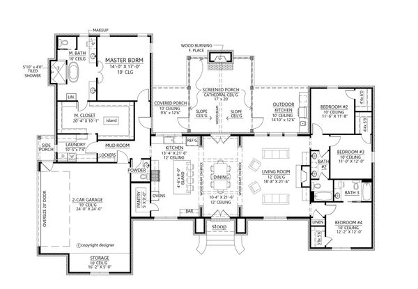 Southern Floor Plan - Main Floor Plan Plan #1074-8