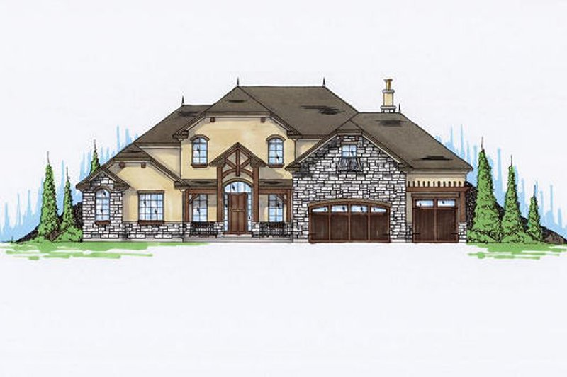 European Exterior - Front Elevation Plan #5-462