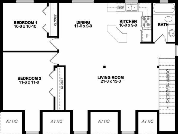 Traditional Floor Plan - Upper Floor Plan #126-162