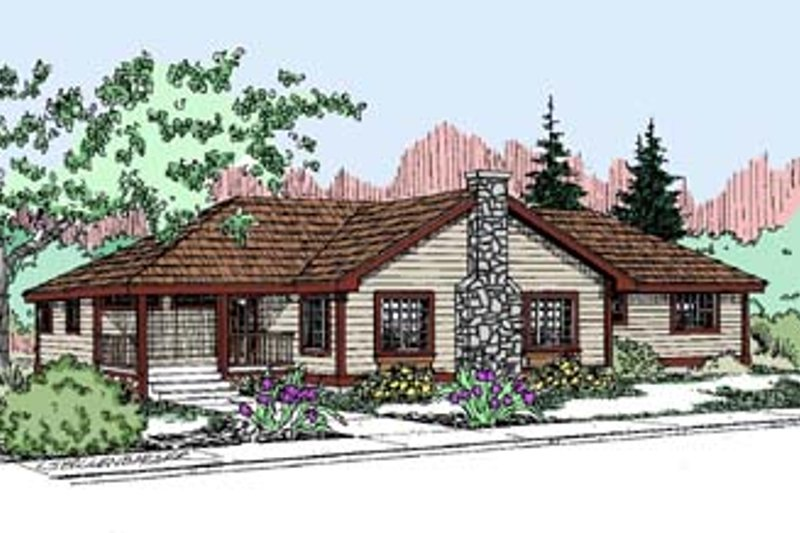 Traditional Style House Plan - 4 Beds 2 Baths 2064 Sq/Ft Plan #60-521 Exterior - Front Elevation
