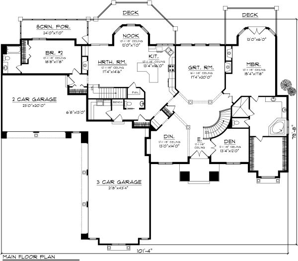 Ranch Floor Plan - Main Floor Plan Plan #70-1142