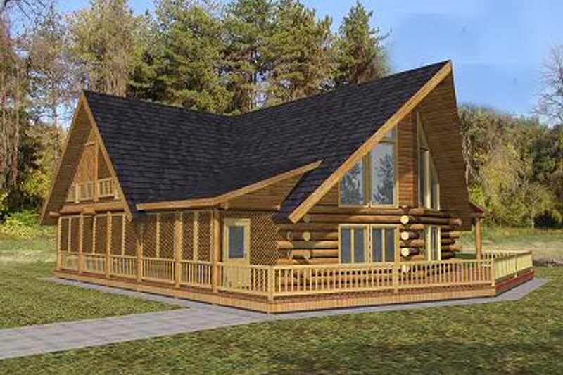Log Style House Plan - 3 Beds 2 Baths 2261 Sq/Ft Plan #117-504 Exterior - Front Elevation