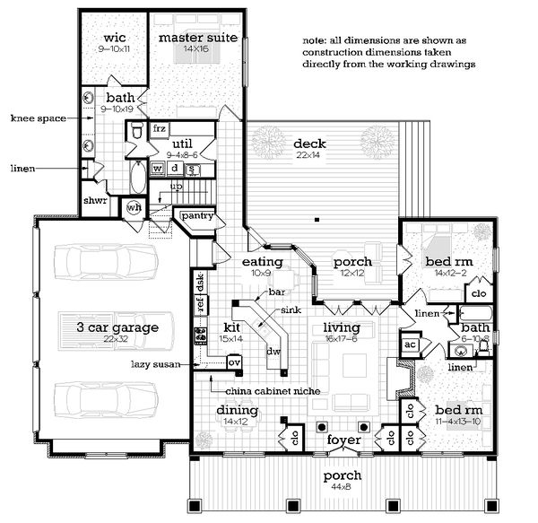 Dream House Plan - Farmhouse Floor Plan - Main Floor Plan #45-594