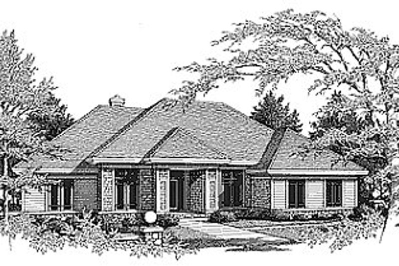 Traditional Exterior - Front Elevation Plan #70-305 - Houseplans.com
