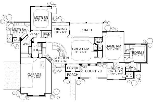 Dream House Plan - Mediterranean Floor Plan - Main Floor Plan #80-151