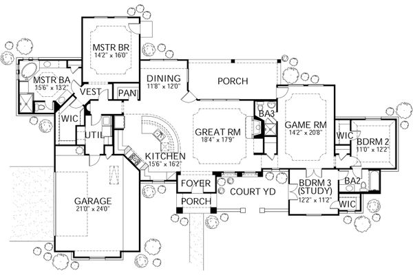 Mediterranean Style House Plan - 3 Beds 3 Baths 2238 Sq/Ft Plan #80-151 Floor Plan - Main Floor Plan