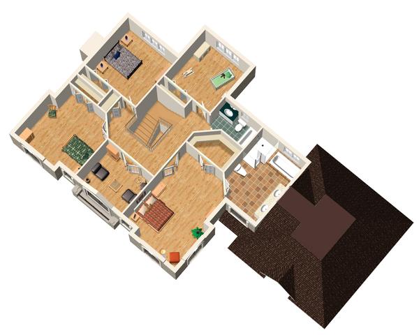 European Floor Plan - Upper Floor Plan Plan #25-4628
