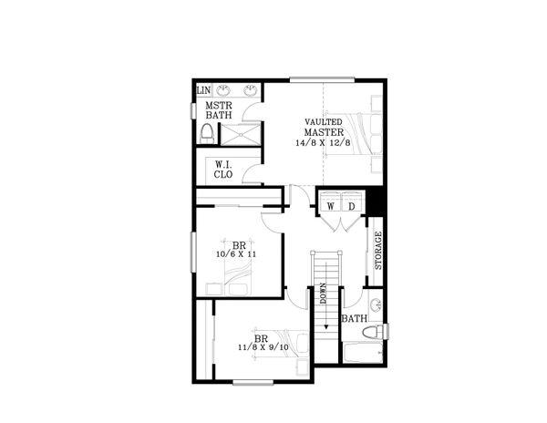 Craftsman Floor Plan - Upper Floor Plan Plan #53-563