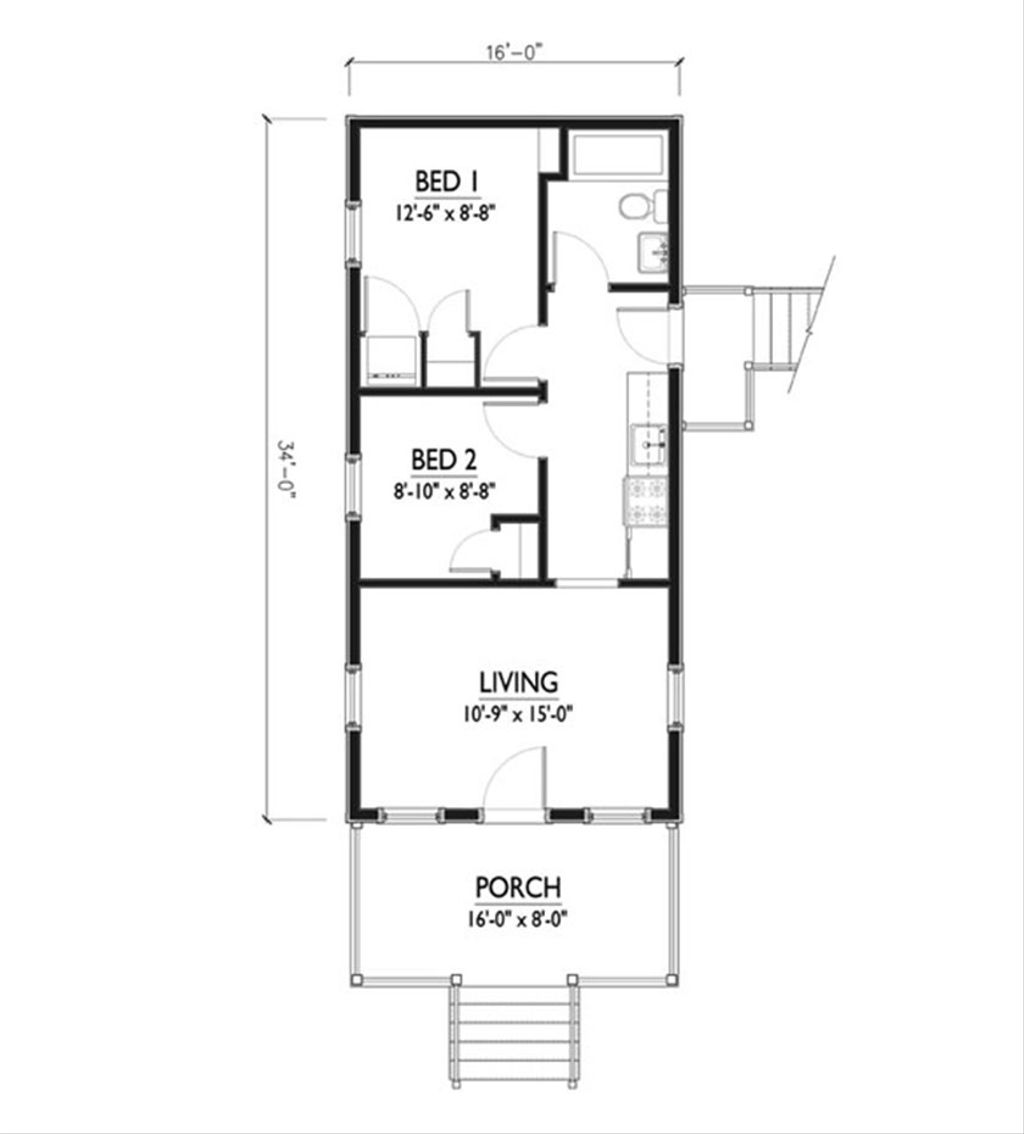 Cottage Style House Plan 2 Beds 1 Baths 544 Sq Ft