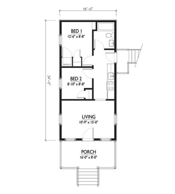 Cottage Style House Plan - 2 Beds 1 Baths 544 Sq/Ft Plan #514-5 Floor Plan - Main Floor Plan