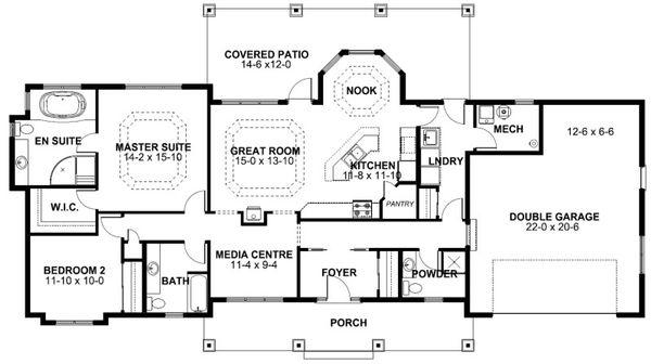 Ranch Floor Plan - Main Floor Plan Plan #126-163