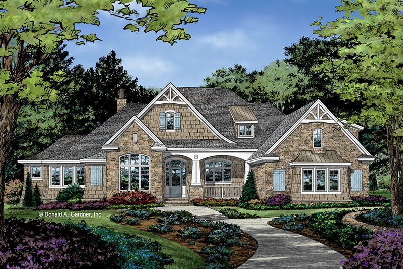 European Style House Plan - 4 Beds 4 Baths 3478 Sq/Ft Plan #929-1037 Exterior - Front Elevation