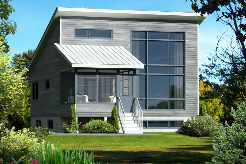Contemporary Style House Plan - 2 Beds 1 Baths 900 Sq/Ft Plan #25-4525 Exterior - Front Elevation