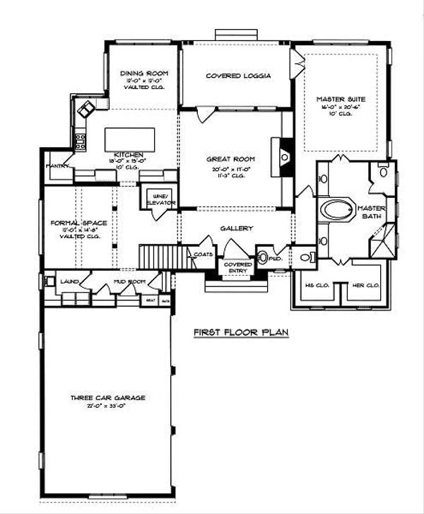 European Floor Plan - Main Floor Plan Plan #413-145