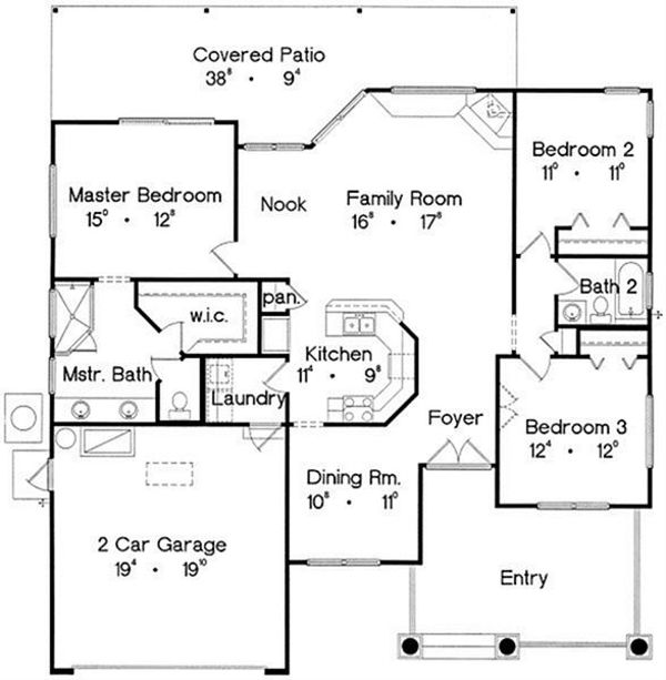 House Design - Traditional Floor Plan - Main Floor Plan #417-127
