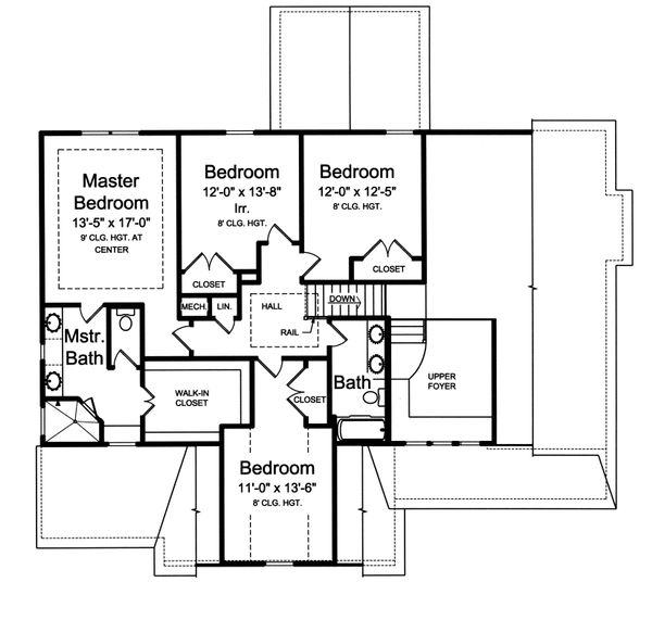Traditional Floor Plan - Upper Floor Plan Plan #46-877