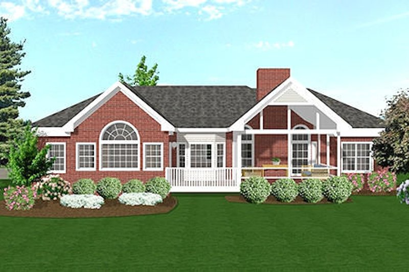 Southern Exterior - Rear Elevation Plan #56-149 - Houseplans.com