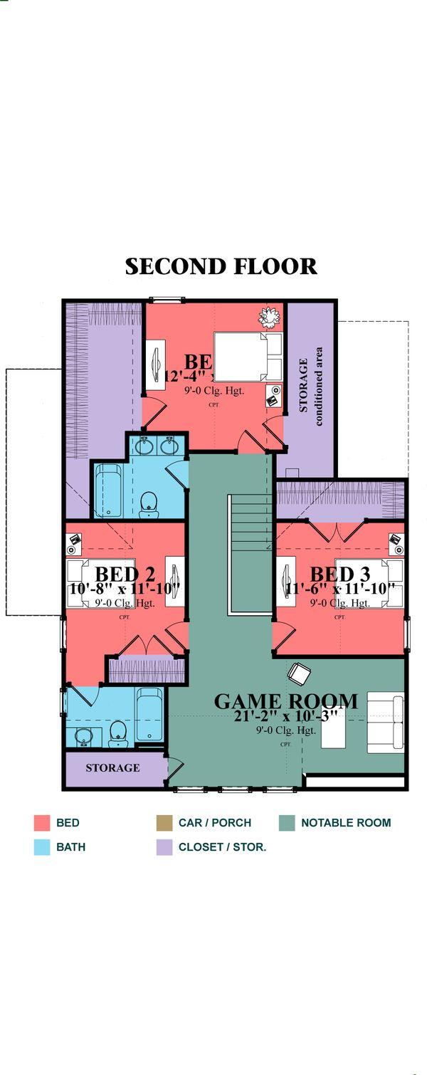 Farmhouse Floor Plan - Upper Floor Plan Plan #63-375
