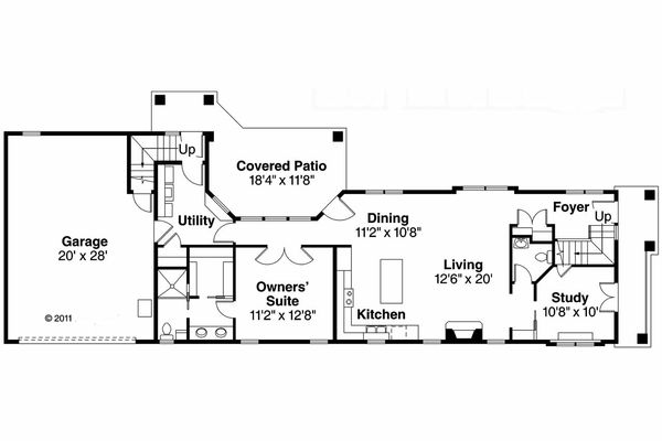 Mediterranean Floor Plan - Main Floor Plan Plan #124-903