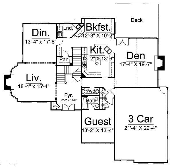 European Floor Plan - Main Floor Plan Plan #119-314