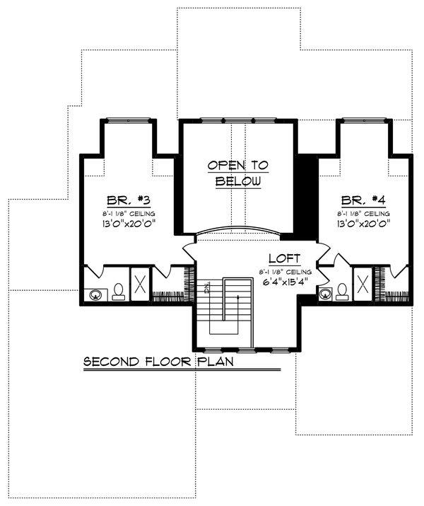 Craftsman Floor Plan - Upper Floor Plan Plan #70-1251