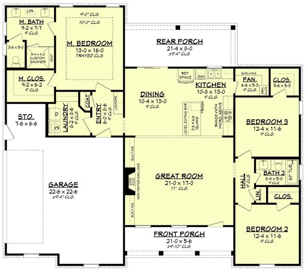 Home Plan Design - Farmhouse Floor Plan - Main Floor Plan #430-230
