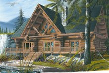 Dream House Plan - Log Exterior - Front Elevation Plan #23-752