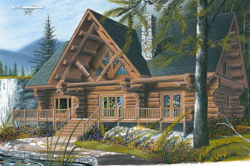 Log Exterior - Front Elevation Plan #23-752