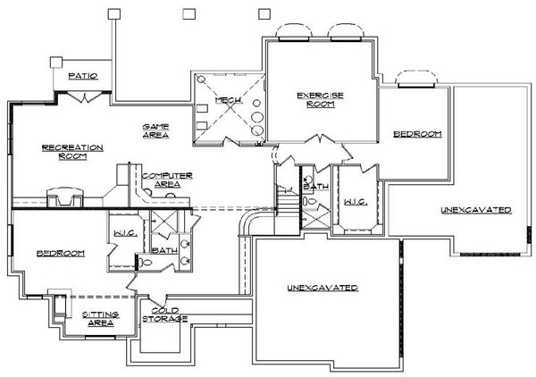 European Floor Plan - Lower Floor Plan Plan #5-439