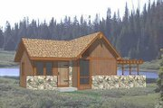 Cottage Style House Plan - 1 Beds 1 Baths 484 Sq/Ft Plan #116-114 Exterior - Front Elevation