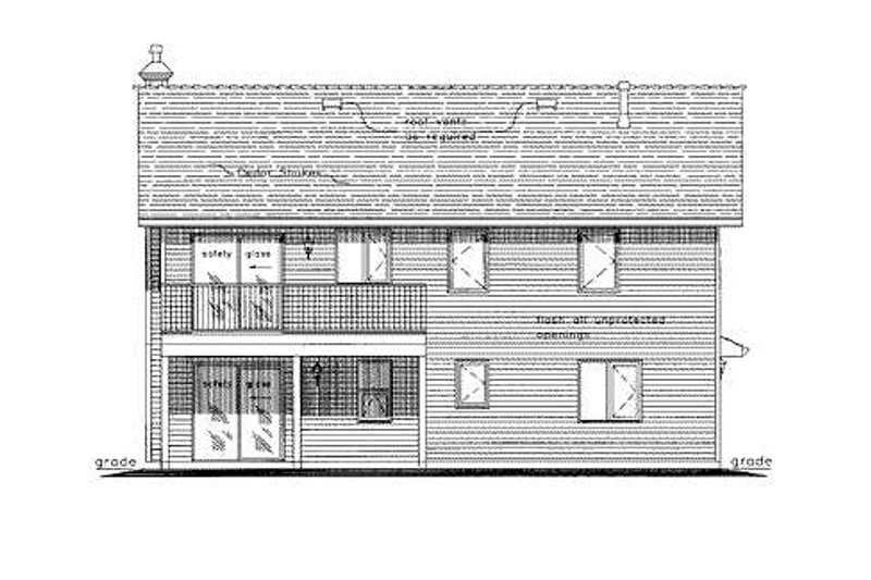 Traditional Exterior - Rear Elevation Plan #18-274 - Houseplans.com