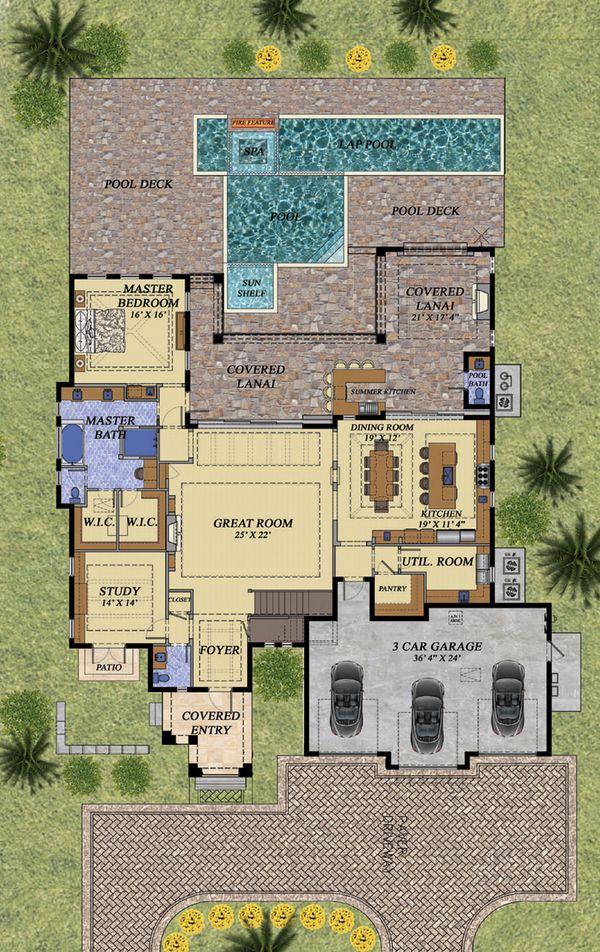 Mediterranean Floor Plan - Main Floor Plan Plan #548-16