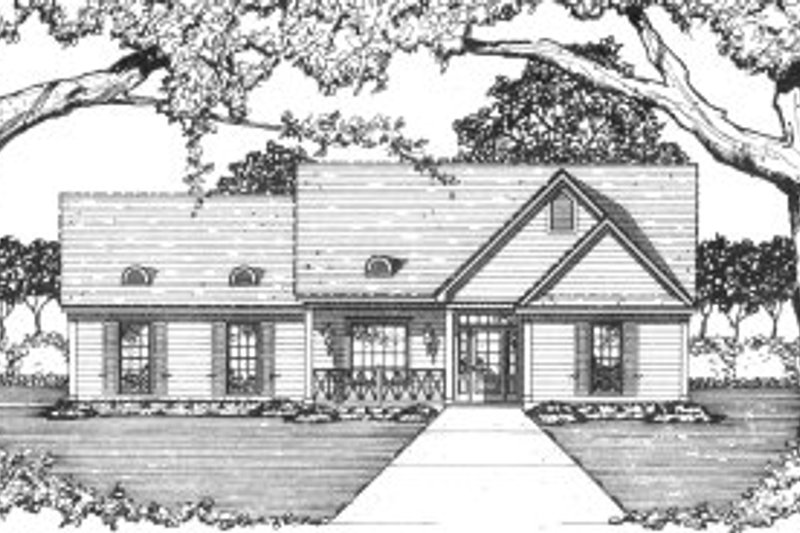 Southern Style House Plan - 3 Beds 2 Baths 1281 Sq/Ft Plan #36-305 Exterior - Front Elevation