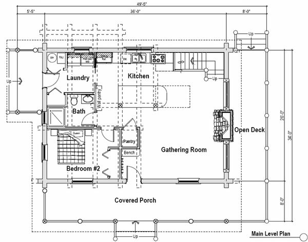 Log Floor Plan - Main Floor Plan Plan #451-12