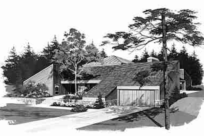 Contemporary Exterior - Front Elevation Plan #72-302