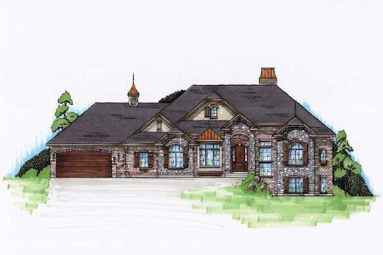 European Exterior - Front Elevation Plan #5-284