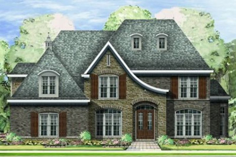 European Style House Plan - 4 Beds 3 Baths 3804 Sq/Ft Plan #424-268 Exterior - Front Elevation