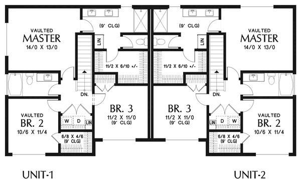 Modern Floor Plan - Upper Floor Plan Plan #48-928