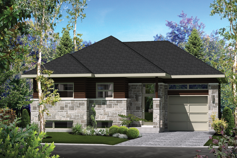 Contemporary Style House Plan - 2 Beds 1 Baths 953 Sq/Ft Plan #25-4404 Exterior - Front Elevation