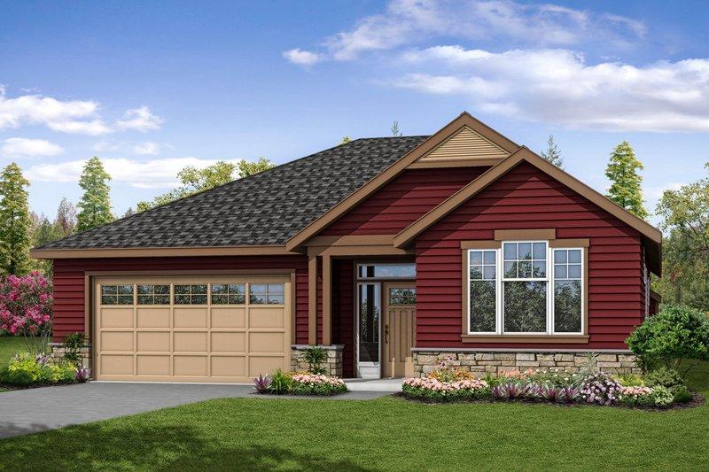 Cottage Exterior - Front Elevation Plan #124-1058