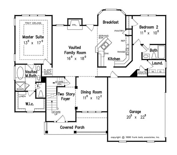 Country Style House Plan - 4 Beds 3 Baths 2163 Sq/Ft Plan #927-8 Floor Plan - Main Floor Plan